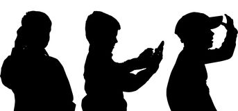 Vector silhouette of boy. Vector silhouette of the boy in profile on a white background Royalty Free Stock Images
