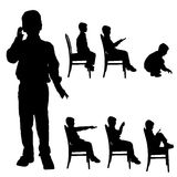 Vector silhouette of boy. Stock Image