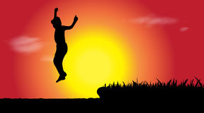 Vector silhouette of boy who jumps. Royalty Free Stock Photos