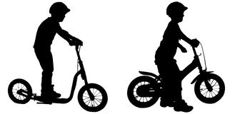 Vector silhouette of a boy. Stock Images