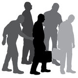 Vector silhouette of businesman. Royalty Free Stock Photography