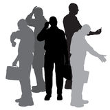 Vector silhouette of businesman. Stock Images