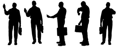 Vector silhouette of businesman. Stock Image