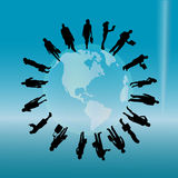 Vector silhouette of a business people. Vector silhouette of a business people with a globe Royalty Free Stock Image