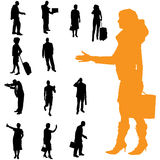 Vector silhouette of business people. Royalty Free Stock Photo