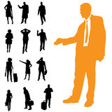 Vector silhouette of business people. Royalty Free Stock Images