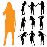 Vector silhouette of businesswoman. Stock Photos
