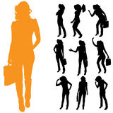 Vector silhouette of businesswoman. Royalty Free Stock Photos
