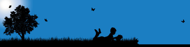 Vector silhouette of boy in nature at sunny day. Royalty Free Stock Images
