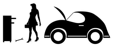 Vector silhouette car repairs. Stock Photography