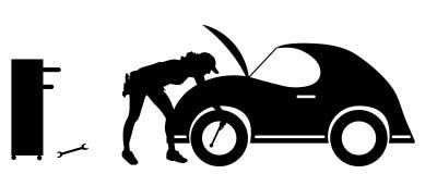 Vector silhouette car repairs. Stock Images
