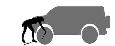 Vector silhouette car repairs. Royalty Free Stock Images