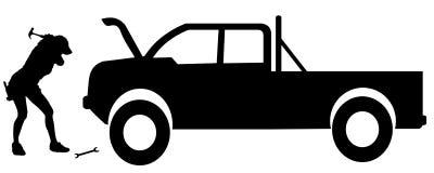 Vector silhouette car repairs. Royalty Free Stock Image
