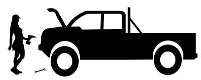 Vector silhouette car repairs. Stock Photos