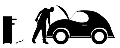 Vector silhouette car repairs. Royalty Free Stock Image