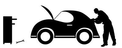 Vector silhouette car repairs. Stock Image