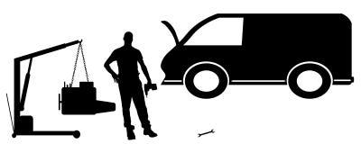 Vector silhouette car repairs. Royalty Free Stock Images