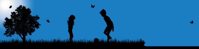 Vector silhouette of child in nature at sunny day. Royalty Free Stock Images