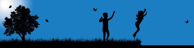 Vector silhouette of child in nature at sunny day. Stock Images