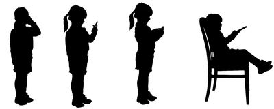 Vector silhouette of child. Royalty Free Stock Photo