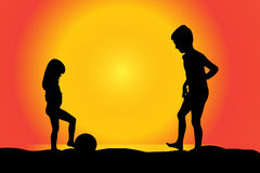 Vector silhouette of children. Vector silhouette of children on a beach at sunset Stock Images