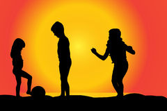 Vector silhouette of children. Vector silhouette of children on a beach at sunset Stock Photo