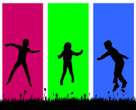 Vector silhouette of a children. Royalty Free Stock Images