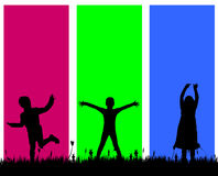 Vector silhouette of a children. Stock Photography