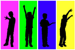 Vector silhouette of children. Stock Photography