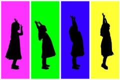 Vector silhouette of children. Stock Image