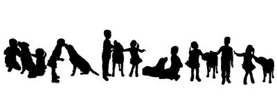 Vector silhouette of children with a dog. Royalty Free Stock Photos