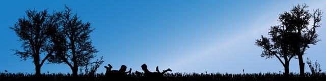 Vector silhouette of children. Stock Photos