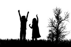 Vector silhouette of children. Stock Images