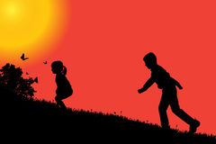 Vector silhouette of a children. Stock Images