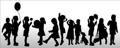 Vector silhouette of children. Royalty Free Stock Photo
