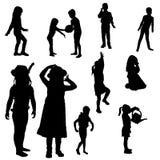 Vector silhouette of children. royalty free illustration