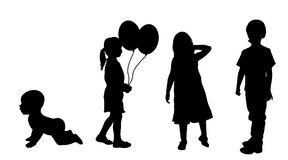 Vector silhouette of children. Stock Photos