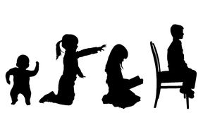 Vector silhouette of children. Stock Photo