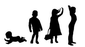 Vector silhouette of children. Royalty Free Stock Photos