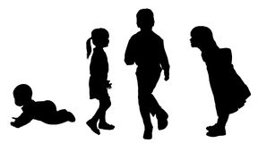 Vector silhouette of children. Stock Image
