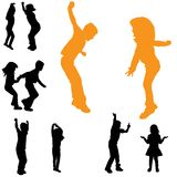 Vector silhouette of children. Royalty Free Stock Photography