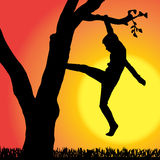 Vector silhouette of children. Vector silhouette of children who play at sunset Stock Photos