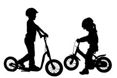 Vector silhouette of a children. Stock Image