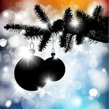 Vector silhouette of a Christmas tree with bulbs Royalty Free Stock Photography
