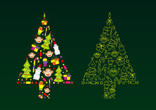 Vector silhouette of a Christmas tree Stock Photography