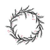 Vector silhouette christmas wreath frame or border royalty free stock images