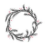 Vector silhouette christmas wreath frame or border stock images