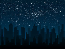 Vector silhouette of the city. Star sky. Eps 10. Stock Photography