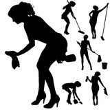 Vector silhouette of a cleaning lady. Royalty Free Stock Photos