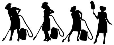 Vector silhouette of a cleaning lady. Royalty Free Stock Image